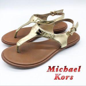Michael Kors- Gold Thong buckle w Gold Logo 6